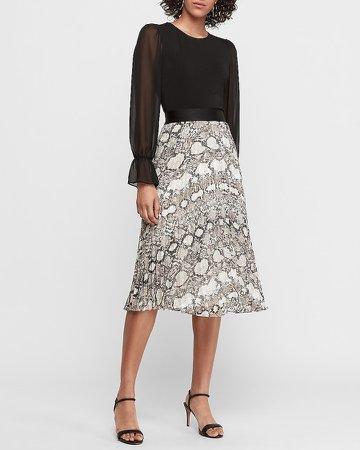 Snakeskin Print Pleated Midi Skirt