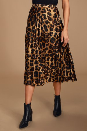 Chic Satin Skirt - Leopard Print Midi Skirt - Pleated Midi Skirt