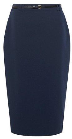 Navy Tailored Pencil Skirt