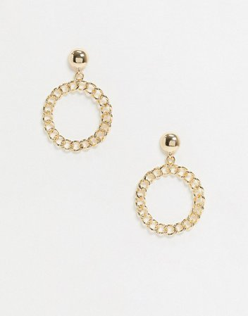 Pieces drop earrings with chain detail in gold | ASOS
