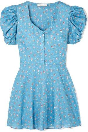 Cora Floral-print Cotton Mini Dress - Blue