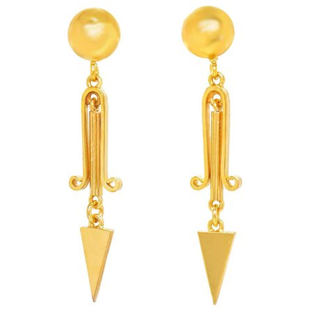 Victorian Gold Dangle Earrings For Sale at 1stDibs