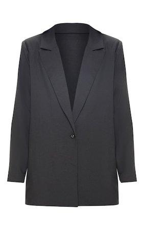 Black Super Oversized Woven Blazer | PrettyLittleThing