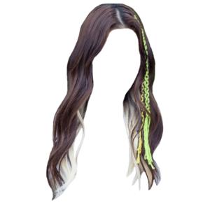 brown hair png white/blonde streaks tips