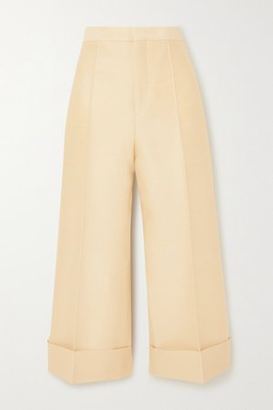 Cropped Wool And Silk-blend Straight-leg Pants - Beige