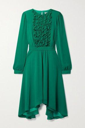 Asymmetric Ruffled Chiffon Dress - Jade