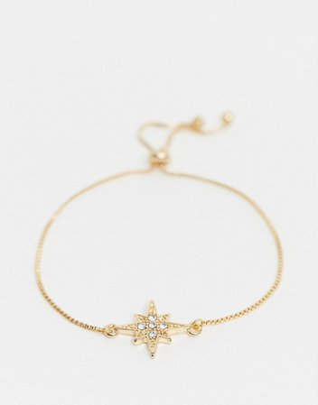 ASOS DESIGN bracelet with toggle chain and star charm in gold tone | ASOS