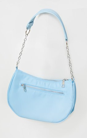 Baby Blue With Silver Chain Shoulder  Bag | PrettyLittleThing