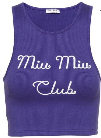 MiuMiu embroidered MiuMiu club ripped top