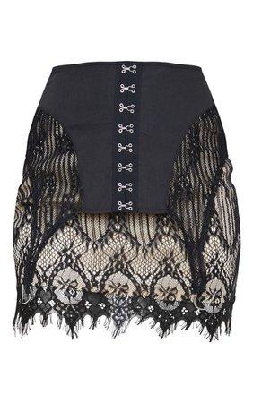 Black Lace Corset Detail Mini Skirt   Skirts   PrettyLittleThing USA