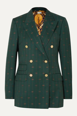 Green Wool-jacquard double-breasted blazer | Gucci | NET-A-PORTER