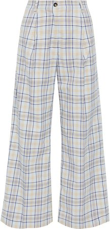 Nilini Checked Cotton-blend Wide-leg Pants