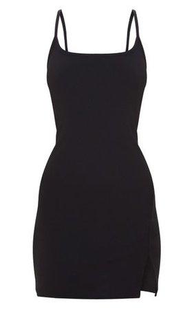 Black 2 In 1 Strappy Split Front Shift Dress   PrettyLittleThing