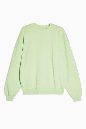 Green Stonewash Sweatshirt | Topshop