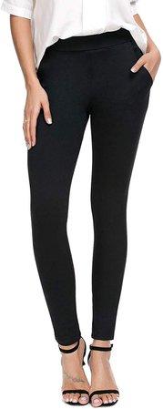 Bamans Women's Skinny Leg Work Pull on Slim Stretch Yoga Dress Pants w/Tummy Control at Amazon Women's Clothing store
