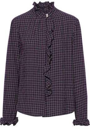 Ruffled-trimmed Checked Cotton-flannel Shirt