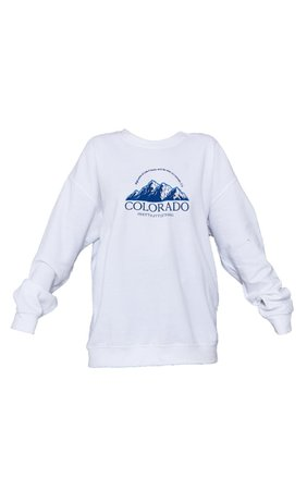 White Colorado Print Oversized Sweatshirt   PrettyLittleThing USA