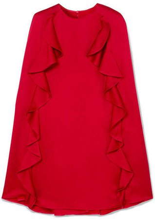 Ruffle-trimmed Crepe Mini Dress - Red