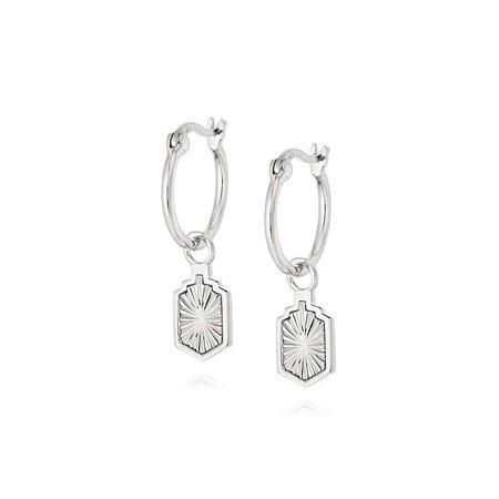 Estée Lalonde Sunburst Shield Charm Earrings Sterling Silver - - Daisy London Jewellery