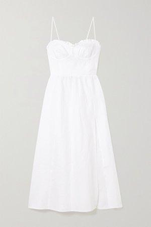 White Prune ruffled linen midi dress   Reformation   NET-A-PORTER
