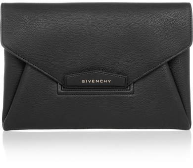 Antigona Textured-leather Clutch - Black