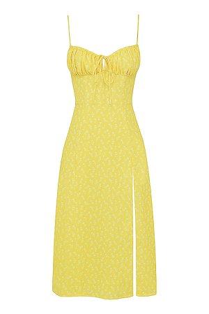 Clothing : Midi Dresses : 'Carina' Yellow Floral Bustier Midi Dress