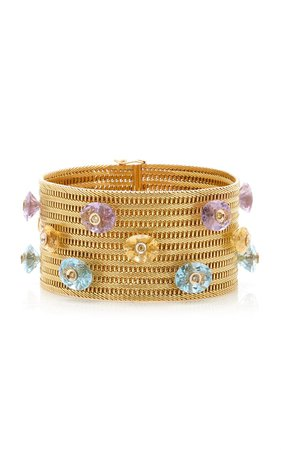 One Of A Kind Woven Gold Detailed Chain Bracelet Embellished With Citrines, Topaz, Amethyst & Diamonds By Eleuteri | Moda Operandi