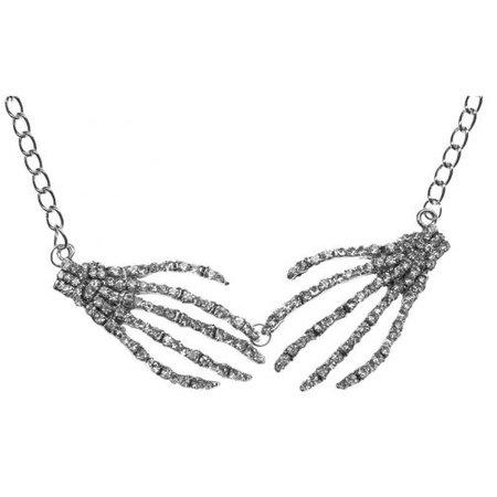 Diamonte Skeleton Hand - goth crystal necklace by Kreepsville666