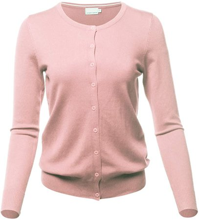 MINEFREE Women's Crewneck Cardigan Button Down Long Sleeve Knit Sweater Dustypink L at Amazon Women's Clothing store