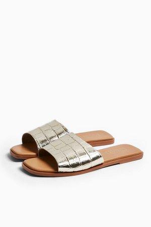 PAISLEY Gold Sandals Mules | Topshop