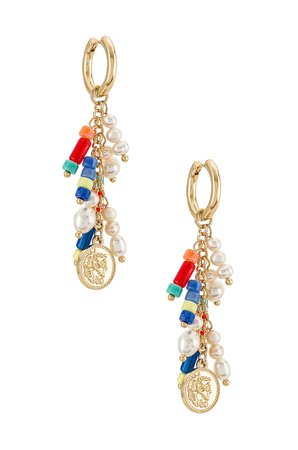 8 Other Reasons Beaded Gold Coin Dangle Earring in Multi | REVOLVE