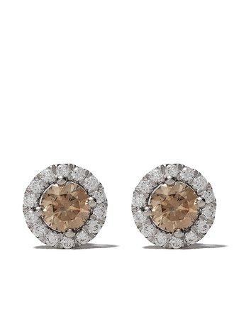 18kt White Gold De Beers Aura Fancy Coloured Diamond Stud Earrings   Farfetch.com