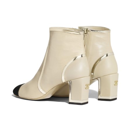 Laminated Lambskin Beige & Black Ankle Boots | CHANEL