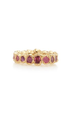 Fie Isolde Rainbow 14K Yellow-Gold and Sapphire Ring Size: 6