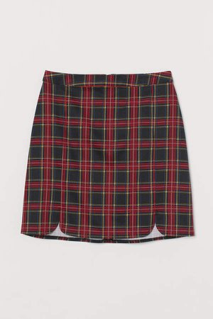 Checked Skirt - Red