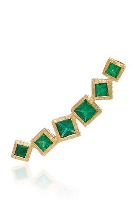 Ivy Gold and Emerald Ear Climber by Octavia Elizabeth | Moda Operandi