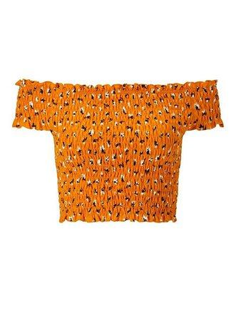 Orange Shirred Bardot Crop Top