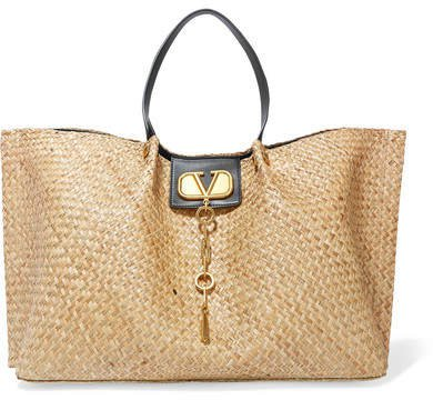 Garavani Go Logo Escape Leather-trimmed Straw Tote - Light brown