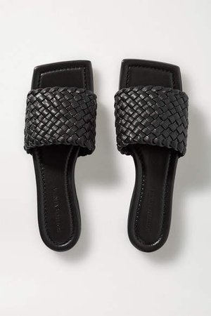 Intrecciato Leather Slides - Black