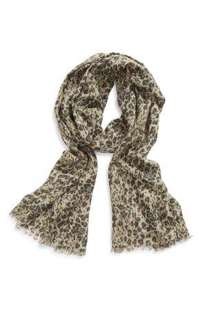 ALLSAINTS Patch Leopard Print Fringed Scarf | Nordstrom