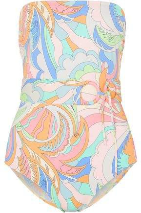 Belted Printed Bandeau Swimsuit