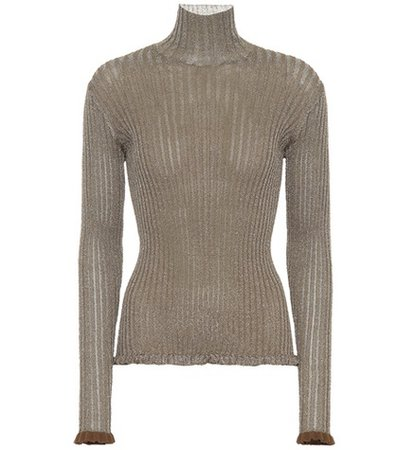 Metallic ribbed silk-blend sweater