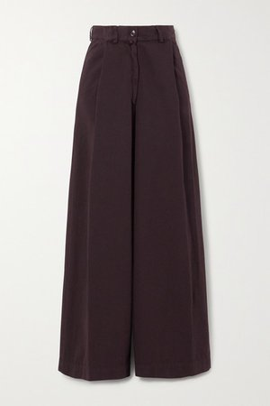 Cotton-twill Wide-leg Pants - Plum