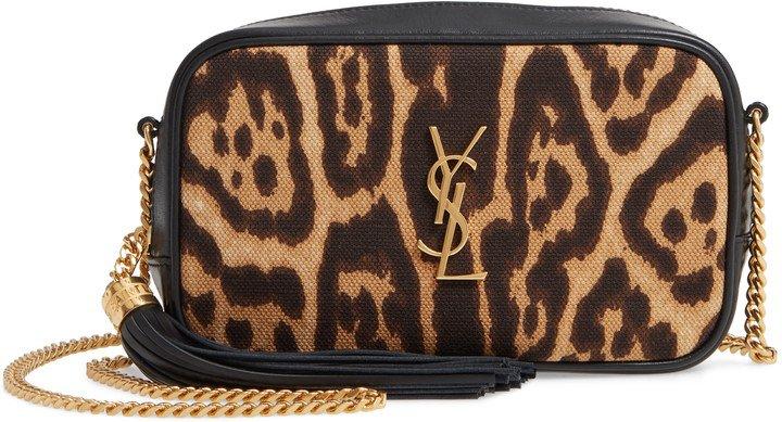 Mini Lou Leopard Canvas & Leather Crossbody Bag