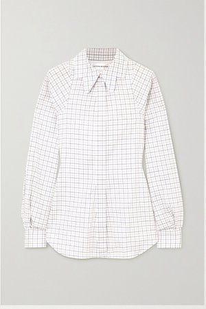 White Checked cotton shirt | Victoria Beckham | NET-A-PORTER