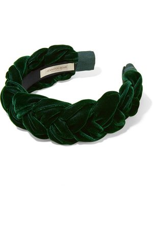 Jennifer Behr | Lorelei braided velvet headband | NET-A-PORTER.COM