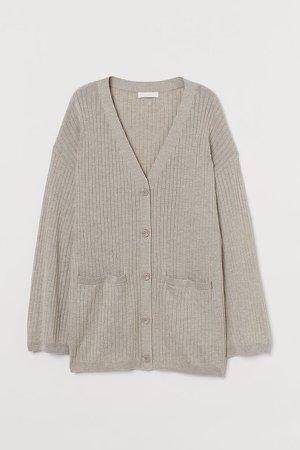 Rib-knit Cardigan - Beige