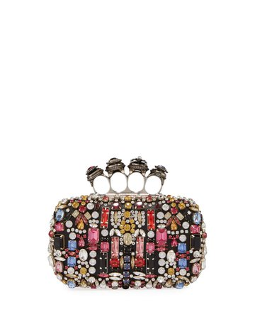 Alexander McQueen Jeweled Four-Ring Embellished Leather Clutch Bag | Neiman Marcus