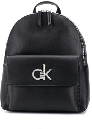 Logo-Plaque Faux-Leather Backpack