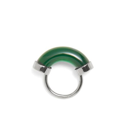 Fraction Ring in Rhodium and Emerald | Lady Grey